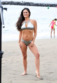 Casey Batchelor in silver bikini in Tenerife