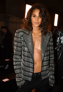 Cindy Bruna sexy cleavage in metalic jacket