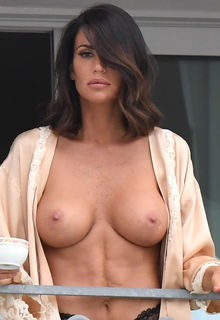 Claudia Galanti nude boobs on the balcony of a hotel in Porto Cervo, Sardinia - July 19, 2017