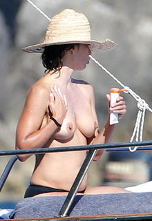 French actress Sophie Marceau topless on a yacht in Capri paparazzi photos - July 31, 2016