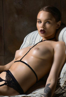 Anastasiya Scheglova topless in stockings photoshoot by Pavel Andronov