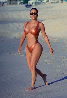 Kim Kardashian sexy in a monokini at the beach in Mexico - January 13, 2020