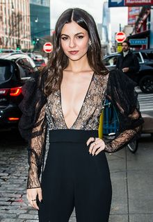 Victoria Justice braless in see through dress arriving at the Pamella Roland fashion show in NYC - February 07, 2020